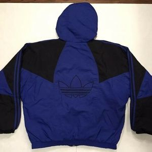 VTG Adidas Trefoil Spell Out Puffer Jacket Coat L